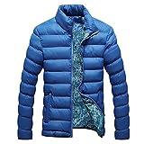 CHIC-CHIC Homme Veste Zip Hiver Manteau Manche Long Blouson Chaud Parka Chaud Doudoune (FR50-52, Bleu)