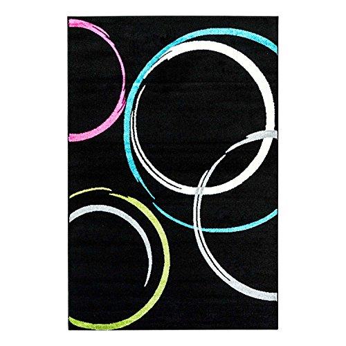 (carpet city Teppich Flachlor Modern Moda mit Kreismuster in Schwarz, Grün, Türkis, Pink; Größe: 160x225 cm)