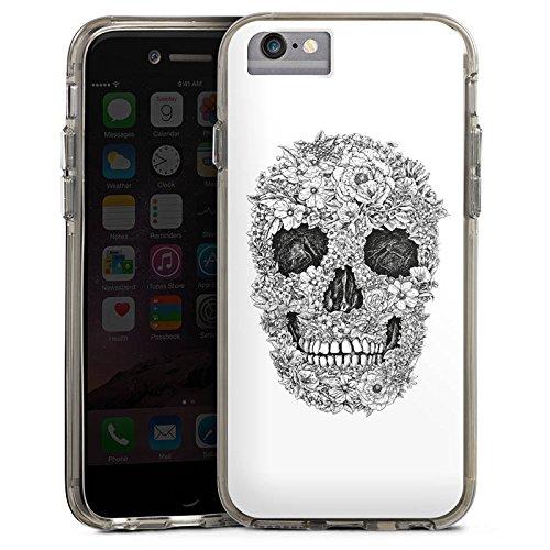 Apple iPhone 6 Bumper Hülle Bumper Case Glitzer Hülle Skull Totenkopf Flowers Bumper Case transparent grau