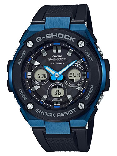 Men's Casio G-Shock G-Steel Black and Blue Solar Resin Watch GSTS300G-1A2