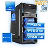 M&M Computer Dresden Gamer PC, Intel i7-8700 Prozessor Hexa-Core, GTX1060 6GB Gaming Grafikkarte, 240GB SSD, 16GB DDR4 RAM 3000MHz, Windows 10 Home, sehr preiswert