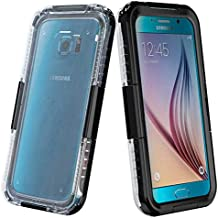 Semoss Cristal Claro Transparente Funda Impermeable Carcasa para Samsung Galaxy S6 Edge G925 Submarine Waterproof Acuatica Sumergible Protectora Bumper Hard Case Cover - Negro