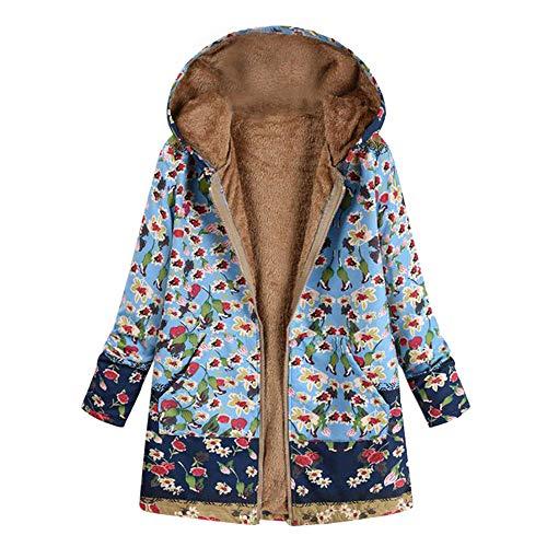 TianWlio Jacken Parka Mäntel Herbst Winter Warme Jacken Strickjacken Damen Winter Warm Outwear Blumendruck Mit Kapuze Taschen Vintage Oversize Mäntel Blau M
