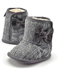 TININNA Invierno Cálido Botas Zapatos de forro polar Para Bebé Niños Niñas Mantenga Cálida Nieve Suave Suela Botas de Cuna Suave Zapatos -Gris