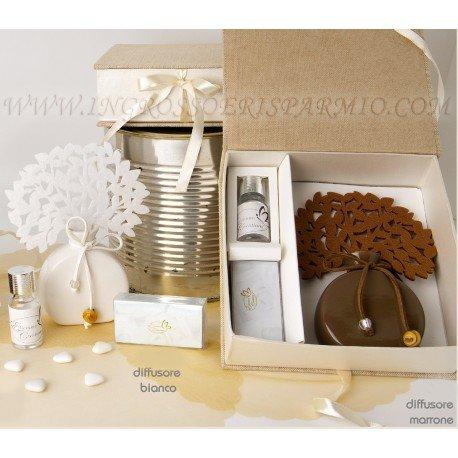 Diffusore/profumatore per ambienti a tema albro della vita bianco con base a forma di ampolla,essenza inclusa completo di scatola rivestita in tessuto - bomboniera matrimonio, anniversario,laurea,compleanno,battesimo e comunine
