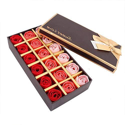 Fliyeong Rose Seife Geschenkbox Parfümierte Seife Konservierte Rose Duftende Bad Seife für Valentinstag Geburtstag Hochzeit 18 Teile/Satz Korallenrot -