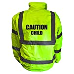 Kids Motorcycle CAUTION CHILD Hi Viz Vis Bomber Jacket Childs Motorbike Reflective Coat Road Safety Biker High Visibility