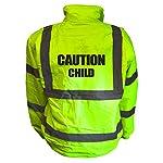 Kids Motorcycle CAUTION CHILD Hi Viz Vis Bomber Jacket Childs Motorbike Reflective Coat Road Safety Biker High Visibility