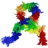 HAAC Federboa Feder Boa Farbe Regenbogen bunt 180 cm für Fasching Karneval Party