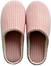 WANGXN Algodón de las mujeres interior suave fondo pantuflas de algodón caliente silencioso antideslizante talón plano