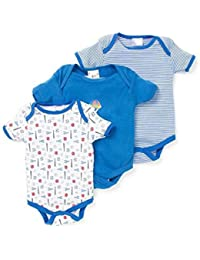 EIO Boy's Cotton Mini Berry Short Sleeves Sleep Suit Romper (Blue, 9-12 Months) - Set of 3