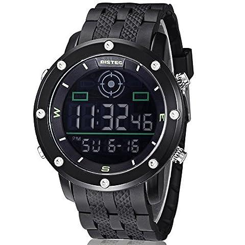 Bistec - BC-001C-B - Sport - Montre Homme - Quartz Digital LED - Cadran Noir - All Black Bracelet - Etanche Multifonction