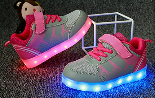 Moollyfox Enfant Sneakers Lumieux Basses Sport Chaussures Light Up 7 Couleurs Chaussures Rose