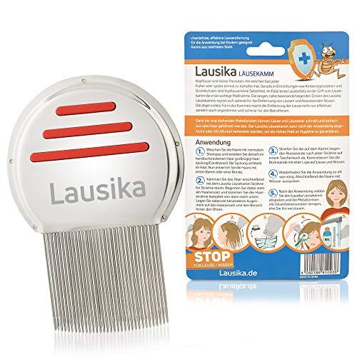 Nissenkamm Lausika aus Metall zur einfachen Reinigung Lice Comb Lauskamm rot mit engstehenden abgerundeten Zinken (0,12mm)