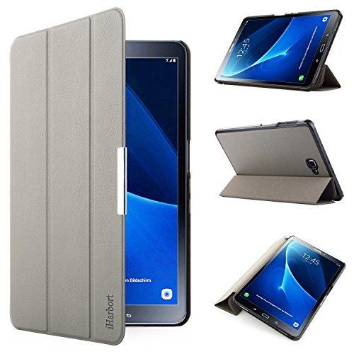 iHarbort® Premium Hülle für Samsung Galaxy Tab A 10.1 (SM-T580/T585) - Samsung Galaxy Tab A 10.1 hülle Etui Schutzhülle Case Cover Holder Stand mit Smart Auto Wake/Sleep-Funktion (Grau)
