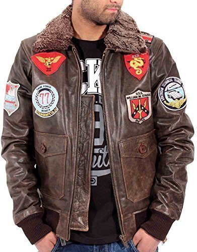 Aviatrix Herren Jungen US Pilot Fliegend Antique Vintage Leder Bomber Jacke Air Force - Antik Braun, S (Leder Jacke Air Bomber Force)