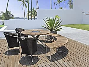 PENELOPE c salon de jardin 6 pièces avec table en teck recyclé & zebra poly rotin marron