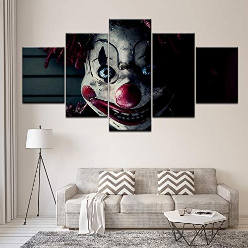 nwand Auf Leinwand Gedruckt Drucke Wall Art Hd Prints Home Decor Clown Movie Canvas Modern Painting Living Room Pictures Artwork Poster-B Rahmen ()