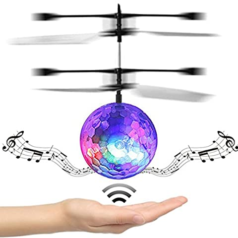 Mini Flying RC Ball, KEERADS Crystal Hand Suspension Helicopter Aircraft Infrared Sensing Induction Flying Ball Drone Toy Built-in Disco Music with Colorful LED Lighting Flashing for Kids