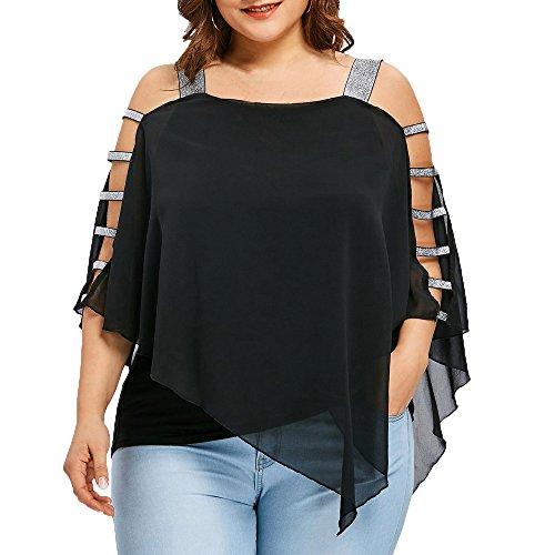 Dorical Damen Casual Übergröße Schulterfrei Tops T-Shirts Bluse Größe Größe Sexy Asymmetrisch Strand T-Shirt Hemd Tank Tops Oberteil Bluse Tees Gr XL-5XL(Schwarz,XXXXX-Large)