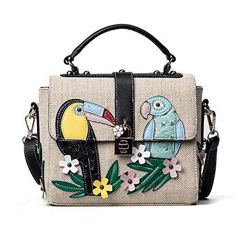 LYLb Mode Puppe Schulter Schulter Messenger Bag - Papagei Blume Kontrastfarbe Stroh Handtasche, Lock Kleine quadratische Tasche (Farbe : Schwarz)