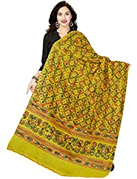 Rani Saahiba Women's Block Printed Aari Mirror Work Cotton Dupatta