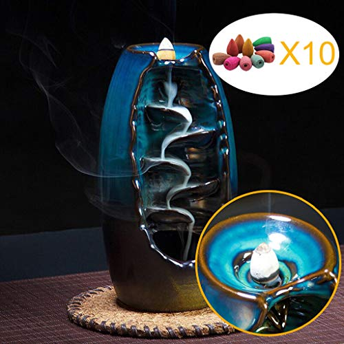 Luccase Ceramic Incense Burner & Incense Holder with 10 Incense Cones - China Celadon Porcelain Decoration Mountain River Handicraft Censer Art Ash Catcher for Home/Office/Teahouse/Meditation