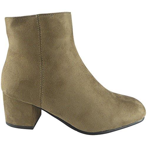 Nuove donne Chunky alto Bloccare Tacco Caviglia Stivali Dimensione 36-41 CACHI