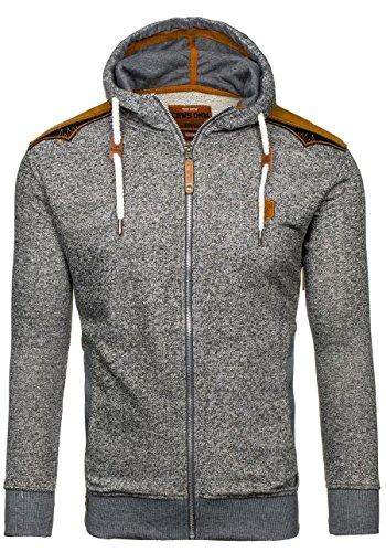 BOLF - Felpa - Pullover - Manica lunga – Maglione - Zip - Classic - Motivo - 1A1 Grigio