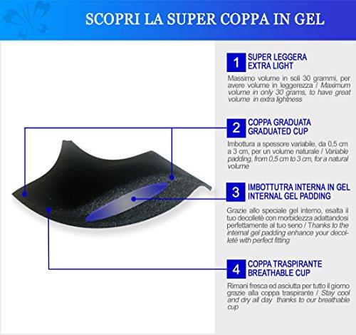 Miracle PA2806 Gepolsterter Super Balconnette-Push-Up mit Gel Cups für optisch zwei Körbchengröße mehr und abnehmbaren Trägern von Lady Bella Lingerie Haut