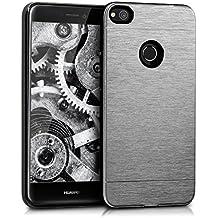 kwmobile Funda protectora para Huawei P8 Lite (2017) - Funda de aluminio y silicona TPU en plata