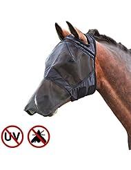 Harrison Howard CareMaster Masque de protection anti mouche Anti UV avec Naseaux Noir (Poney (S))