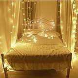10M LED cordes Guirlande lumineuse 100LED imperméable blanc chaud romantiques avoirs actuels Transparent plug UE pour R Chambres lit Fête de Noël Mariage Chambre 220V-8 Type-extensible (couleur blanc chaud)