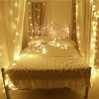 10m led cordes guirlande lumineuse 100led imperm able blanc chaud romantiques avoirs actuels. Black Bedroom Furniture Sets. Home Design Ideas