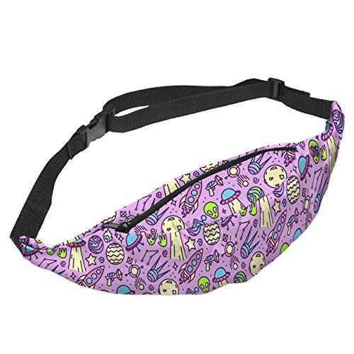 Fringoo - Riñonera interior  unisex adulto Mujer Hombre Niños Niños unisex, color Doodle Ufo Purple, tamaño Adjustable Strap Fits All