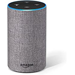 Amazon Echo (2. Generation), Intelligenter Lautsprecher mit Alexa, Hellgrau Stoff