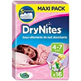 Huggies Drynites 4-7 ans Fille (17-30kg) - Sous-vêtements de Nuit Absorbants pour Enfants qui font Pipi au Lit - x32 Culottes (Lot de 2 Paquets de 16)