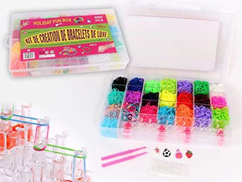 Kit completo | 5800 Loom Bands | 1 Telar | 2 Ganchillos | Enganches S | Colgantes | Gomas para hacer pulseras | Juego creativo para niños