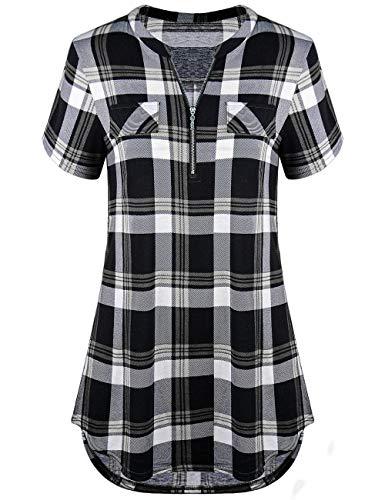 Odosalii Damen V-Ausschnitt Kariert Bluse 3/4 Ärmel Kurzarm Reißverschluss Tunika Longshirt Hemd Tops T-Shirt (Small, B_Schwarz Kariert_Kurzarm) -