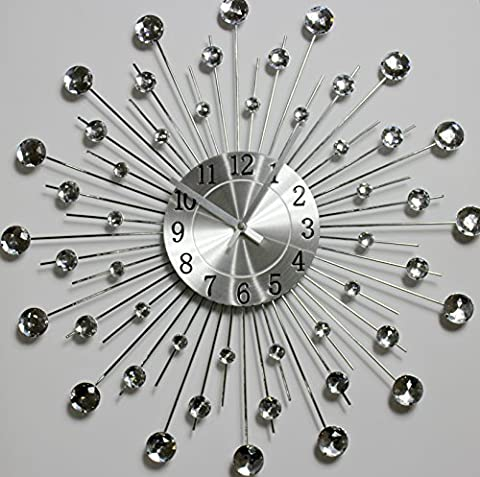 50cm diamante beaded jeweled sunburst metal spikes silver wall clock
