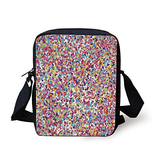 Abstract Multi Color (CBBBB Fiesta,Round Rainbow Colored Confetti Pattern Celebratory Festive Illustration Abstract,Multicolor Print Kids Crossbody Messenger Bag Purse)