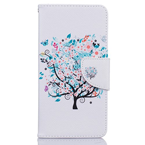 Mo-Beauty® Cover a portafoglio per iPhone 7 [protezione per schermo inclusa] Custodia a portafoglio in eco-pelle per Apple iPhone 7, con disegno colorato e chiusura magnetica, tasca per carte e suppor Colorful tree #1
