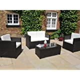 Tiffany Grey Rattan Sofa, 2 Armchairs and CoffeeTable Garden or Conservatory Furniture Set