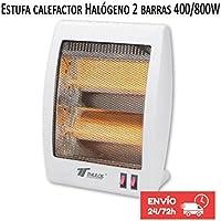 Estufa 2 tubos de cuarzo 400/800W Calefactor Calentador Radiador Halogeno Calor