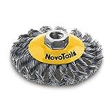 NOVOTOOLS - Cepillo biselado de alambre trenzado, 125mm, 1