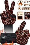CR Essential Guanti per Barbecue e da Forno in Kevlar Resistenti Fino a 500° - Protezione di 12cm sopra al Polso - Antiscivolo e Traspiranti