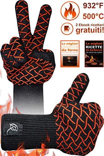 guanti resistenti al calore CR Essential Guanti per Barbecue e da Forno in Kevlar Resistenti Fino a 500° - Protezione di 12cm sopra al Polso - Antiscivolo e Traspiranti