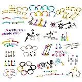 BodyJ4You Piercing-Set, Bauch, Zunge, Augenbrauen, Tragus, 1,6 mm (14G), 1,2 mm (16G), 120-teilig