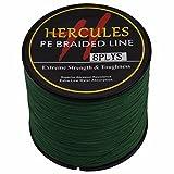 Hercules PE Dyneema Superline geflochtene Angelschnur, 500m Angelschnur 10lb-300lb, 8-fach, Herren, grün, 20lb/9.1kg 0.20mm