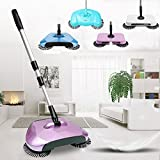 One Pearl Automatic Hand Push Sweeper 360-degree rotating Built-in Rotating Brushes Automatic Sweeping Machine ,Dustpan and Trash Bin 3 in 1 Floor Cleaning System
